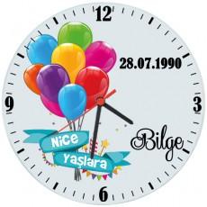 İsim ve Tarihli Doğum Günü Hediyesi Saat (Cam 29cm)