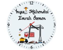 İnşaat Mühendisine Hediye İsimli Cam Duvar Saati