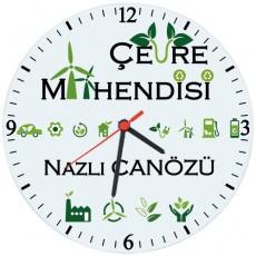 Çevre Mühendisine Hediye İsimli Cam Duvar Saati