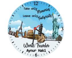 World Traveler İsimli Gezgine Hediye Duvar Saati (Cam 29 cm)