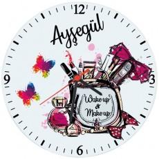 Bayana Hediye İsimli Makyaj Duvar Saati (Cam 29cm)