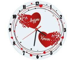 Sevgililer Günü İsimli Kalpler Duvar Saati