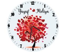 Sevgililer Günü Aşk Ağacı İsimli Duvar Saati