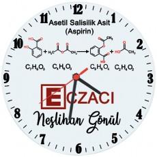 Eczacıya Hediye İsimli Aspirin Temalı Cam Duvar Saati