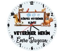 Veterinere Hediye İsimli Ofis Cam Duvar Saati