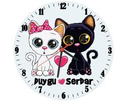 Aşık Kediler İsimli Cam Duvar Saati
