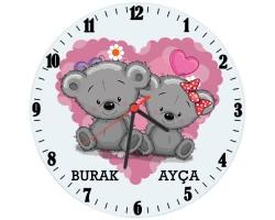 Sevgili Ayıcıklar Cam Duvar Saati