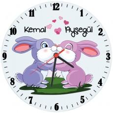 Aşık Tavşanlar İsimli Cam Duvar Saati