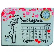Sevgililer Günü Hediyesi 14 Şubat İsim Baskılı Mdf Masa Saati