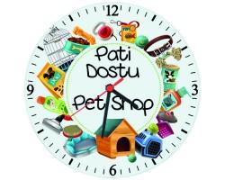 Pet Shop Dükkanı İsim Baskılı Hediye Duvar Saati