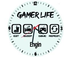Gamer Life Oyuncuya Hediye İsimli Duvar Saati