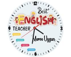 İngilizce Öğretmenine Öğretmenler Günü Hediyesi İsimli Duvar Saati (Cam 29cm)