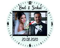 Evlilik Yıldönümü Hediyesi Fotoğraflı İsimli Cam Duvar Saati