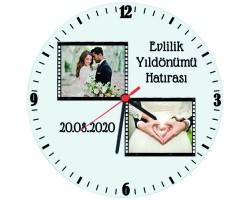 Evlilik Yıldönümü Hatırası Hediyesi Fotoğraflı Tarihli Cam Duvar Saati