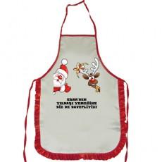 Noel Baba ve Geyikli Yılbaşı Hediyesi - İsme Özel Mutfak Önlüğü