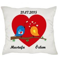 Aşık Kuşlar Sevgili Hediyesi Yastık