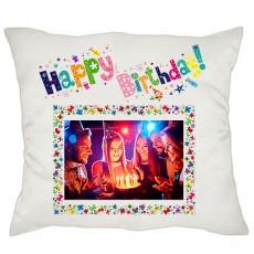 Happy Birthday Fotoğraflı Yastık - Doğum Günü Hediyesi