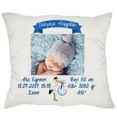Dünyaya Hoşgeldin Erkek Bebek Hediyesi Yastık