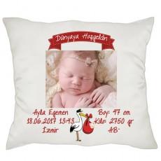 Dünyaya Hoşgeldin Kız Bebek Hediyesi Yastık