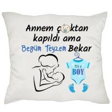 Halam/Teyzem Bekar Erkek Bebek Hediyesi Yastık
