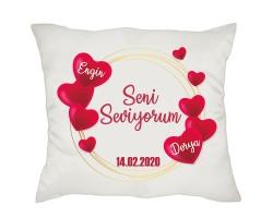 Sevgililer Günü Kalp Tasarım İsimli Yastık