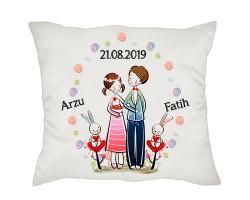 Aşık Romantik Çift İsimli Yastık