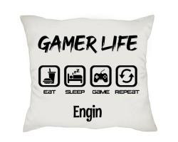 Gamer Life Oyuncuya İsim Baskılı Kişiye Özel Hediye Yastık