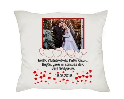 Evlilik Yıldönümü Hediyesi Fotoğraflı Romantik Yastık