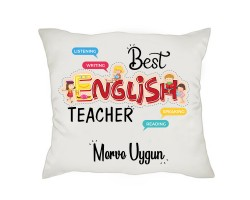 İngilizce Öğretmenine Öğretmenler Günü Hediyesi İsimli Yastık