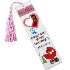 Kız Bebek Baby Shower Kalpli Kitap Ayracı