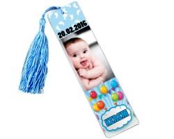 Erkek Bebek Doğum Günü Hediyesi Balonlu Kitap Ayracı