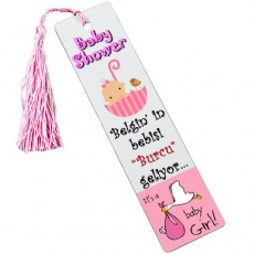 Baby Shower Leylekli Kitap Ayracı - Kız Bebek