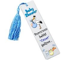 Baby Shower Leylekli Kitap Ayracı - Erkek Bebek