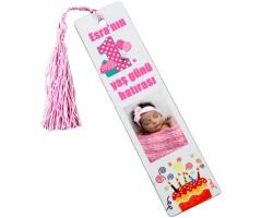 1. Yaş Kız Bebek Şekeri - Fotoğraflı Kitap Ayracı