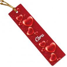 Sevgililer Günü Hediyesi İsim Baskılı Kitap Ayracı Kırmızı Kalpler