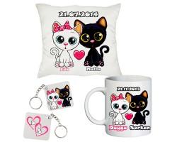 Sevgiliye Hediye Seti - Aşık Kediler