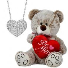 Sevgililer Günü Hediyesi - Gümüş Kalp Kolyeli Ayıcık Seti