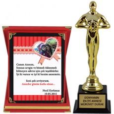 Anneler Gününe Özel Ödül Hediye Seti (Plaket & Oscar Heykeli)