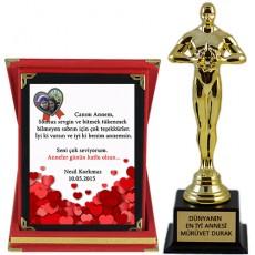 Anneler Gününe Özel Kalpler Ödül Hediye Seti (Plaket & Oscar Heykeli)