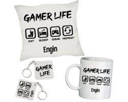 Gamer Life İsimli Kişiye Özel Oyuncu Hediye Seti