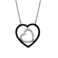 Gümüş Siyah Zirkon Taşlı Kalp Kolye