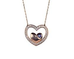 Gümüş Rose Renk Kalp Kolye - Nazar Boncuklu