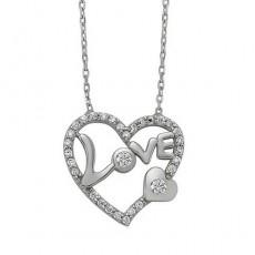 Gümüş Kalp Kolye - Love