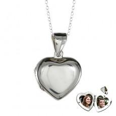 Fotoğraflı Gümüş Kalp Şeklinde Kapaklı Kolye