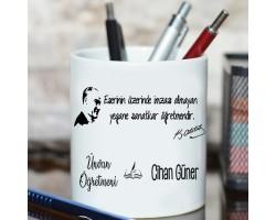 Öğretmene Öğretmenler Günü Hediyesi Branş ve İsim Baskılı Atatürk Temalı Kalemlik