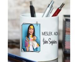 Yeni iş - Meslek Hediyesi Fotoğraflı Kişiye Özel İsim ve Unvan Baskılı Kalemlik